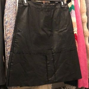 Perforated Faux Black Leather Knee Length Skirt